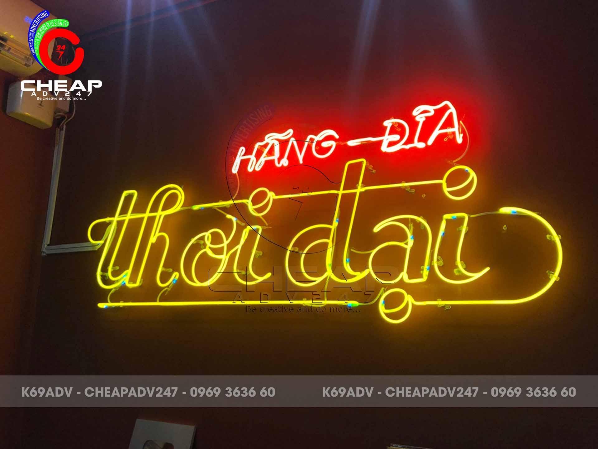 Hình làm đèn neon sign Hãng Đĩa Thời Đại tại Q.1 TpHCM do Cheapadv247 thực hiện
