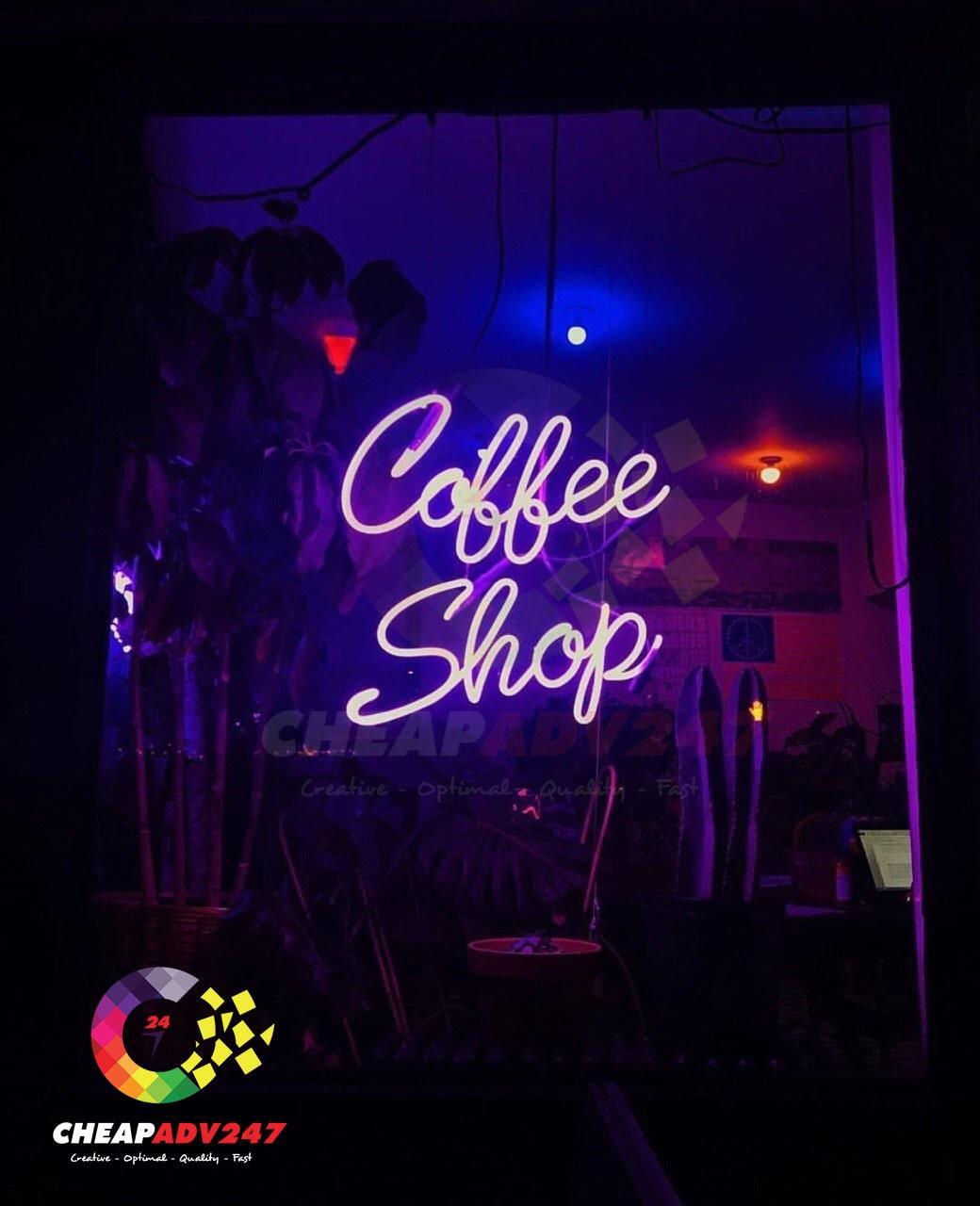 bảng hiệu quán cafe đẹp bằng đèn neon