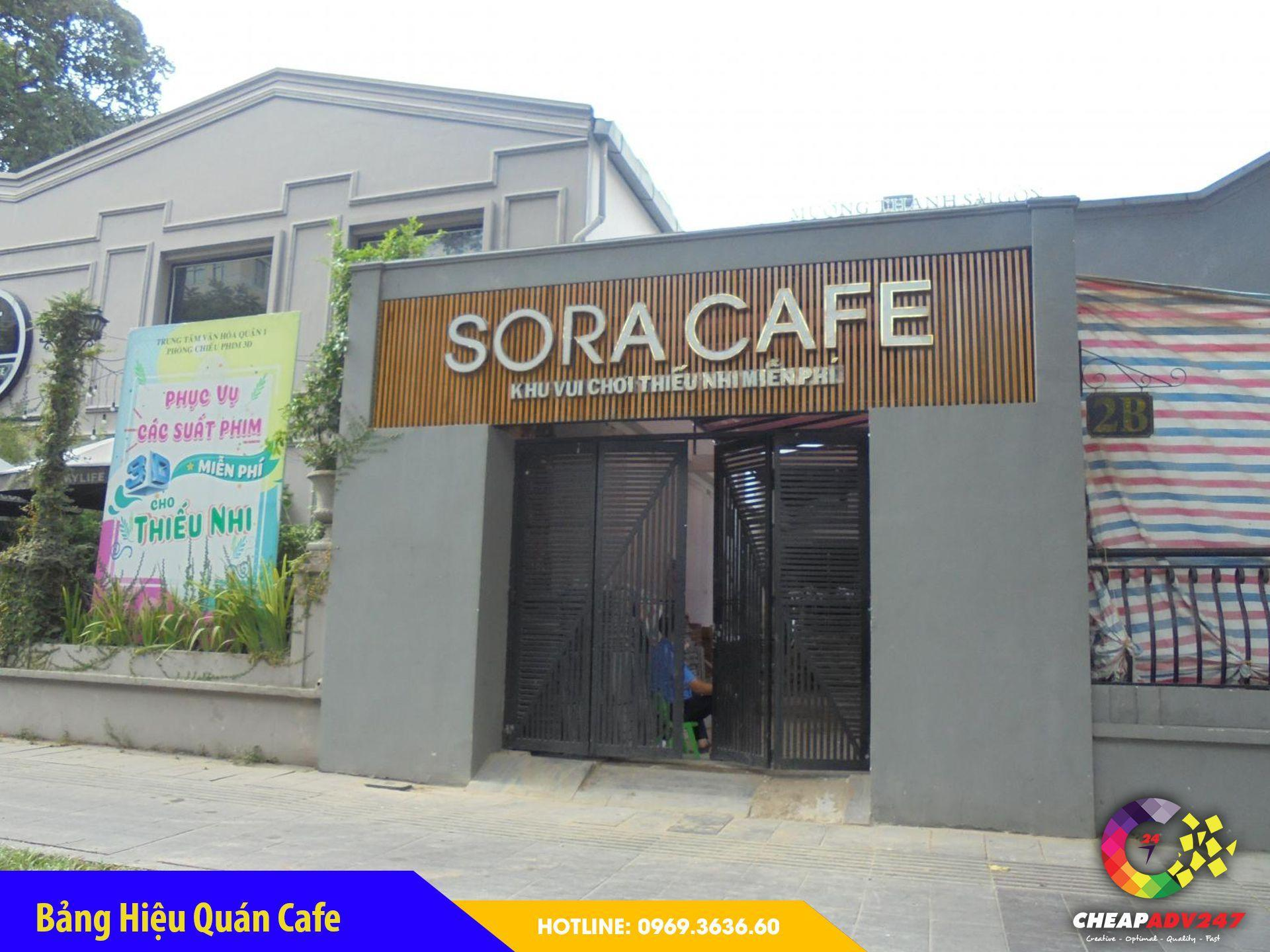 Bảng hiệu quán cafe dùng Inox