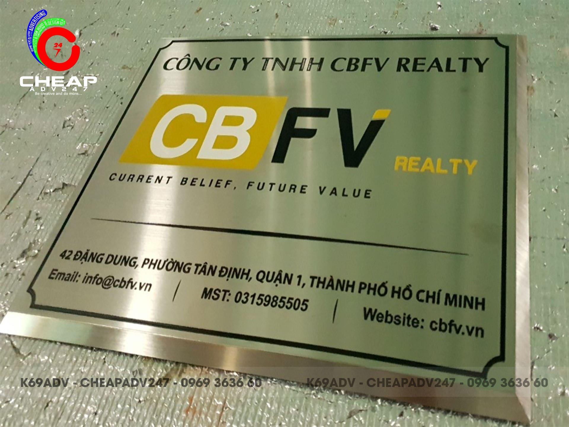 Ảnh làm bảng hiệu inox công ty inox cty CBFV tại Hồ Chí Minh