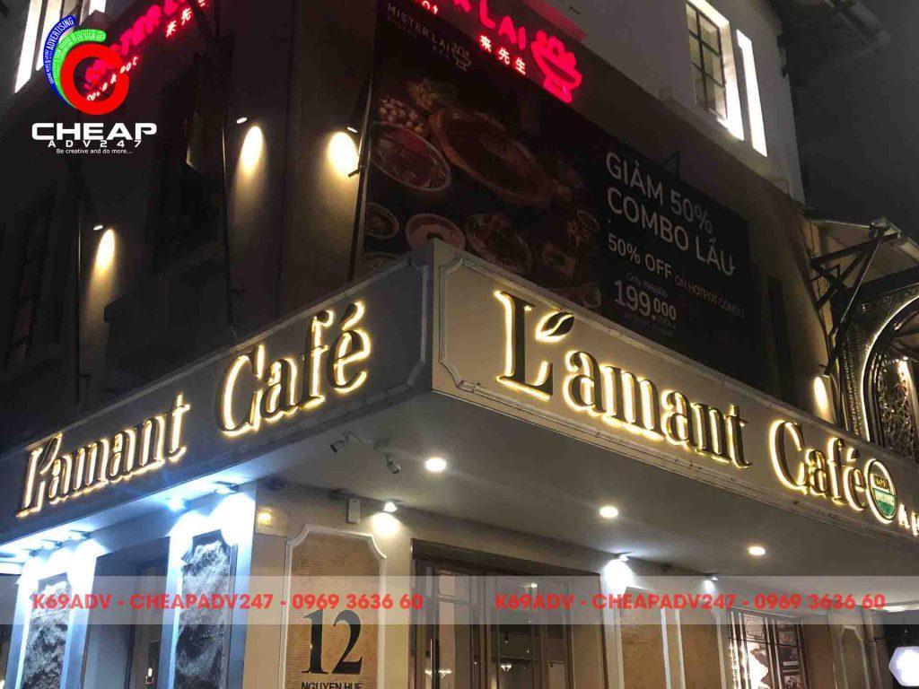 Công trình thi công làm bảng hiệu chữ nổi Inox có đèn cho quán Cafe tại Cheapadv247