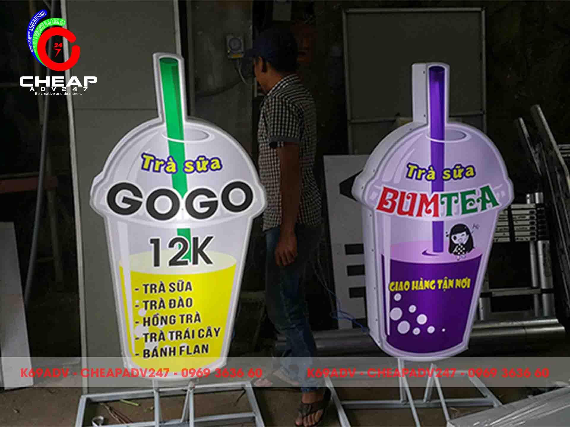 Mẫu bảng hiệu trà sữa Cheapadv247 đã thi công