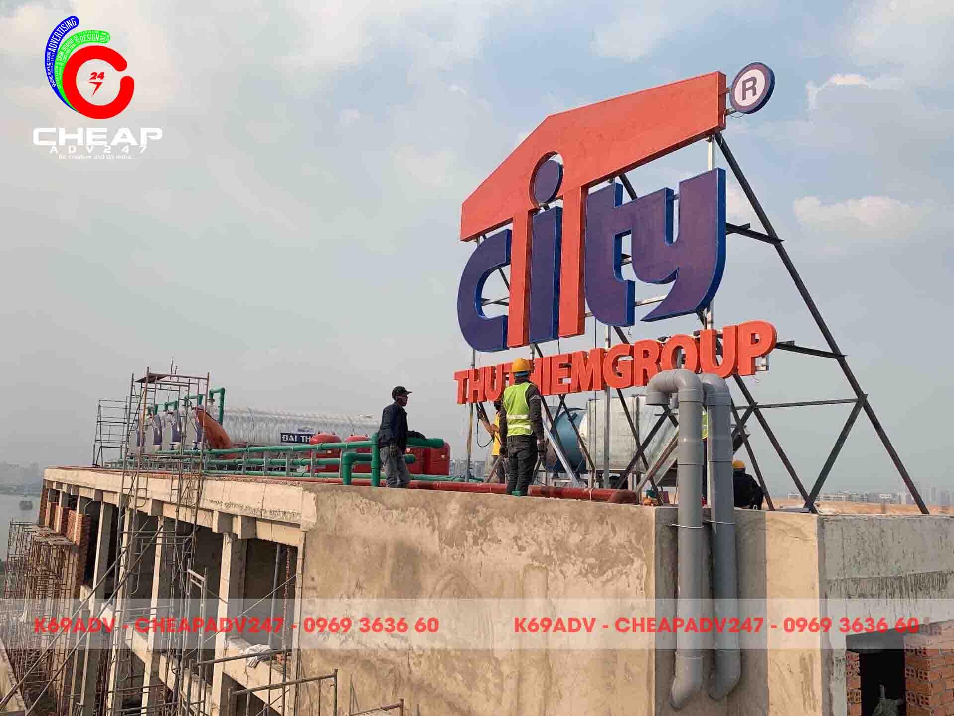 Công trình thi công làm bảng hiệu tòa nhà THUTHIEMGROUP CITY của Cheapadv247